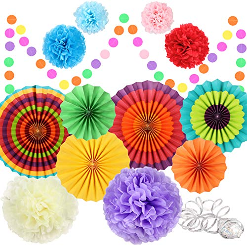 Best Price Fiesta Party Decorations, 14 Pcs Mexican Party Supplies Rainbow Paper Fans, Pom Poms Flowers, Circle Dot Banner, Foil Streamer for Mexican Cinco De Mayo Party Party Birthday Party Taco Decorations