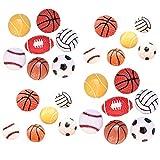 Lot de 26 breloques assorties en résine pour ballon de sport, basket-ball, tennis, baseball, volley-ball, loisirs créatifs, accessoires miniatures,