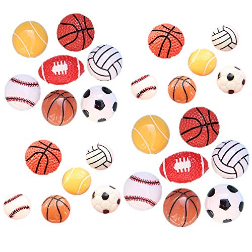 26Pack Assorted Sport Ball Charms Basketball Football Tennis Baseball Volleyball Resin Flatback Beads for Craft Making Miniature Fairy Garden Accessories Scrapbooking Phone Case DIY