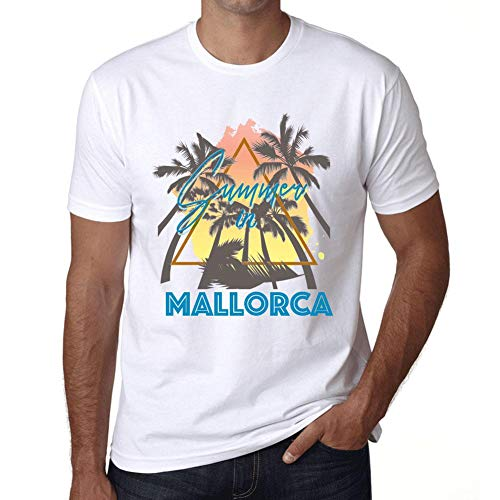 One in the City Hombre Camiseta Vintage T-Shirt Gráfico Summer Triangle Mallorca Blanco
