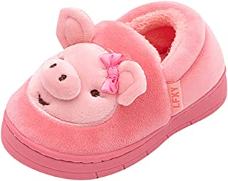 HebeTop Boys Girls Home Slippers,Kids Cute Fur Lined Warm House Slippers Winter Indoor Shoes