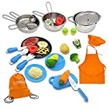 CONDIS Spielküche Zubehör Kinderküche Zubehoer Kinder Küche Zubehör Küchen Puppengeschirr Kunststoff Obst und Gemüse zum Schneiden Küchenzubehör Spielzeug mit Schürze und Kochmütze für Mädchen Jungen