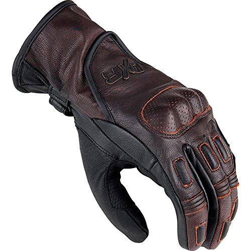 DXR Motorradhandschuhe kurz Motorrad Handschuh TTR Marron Handschuh, Motorradhandschuhe Herren, Verstärkungen (Mittelhand, Finger, Handfläche, Handkante), Ziegenleder, Braun, L