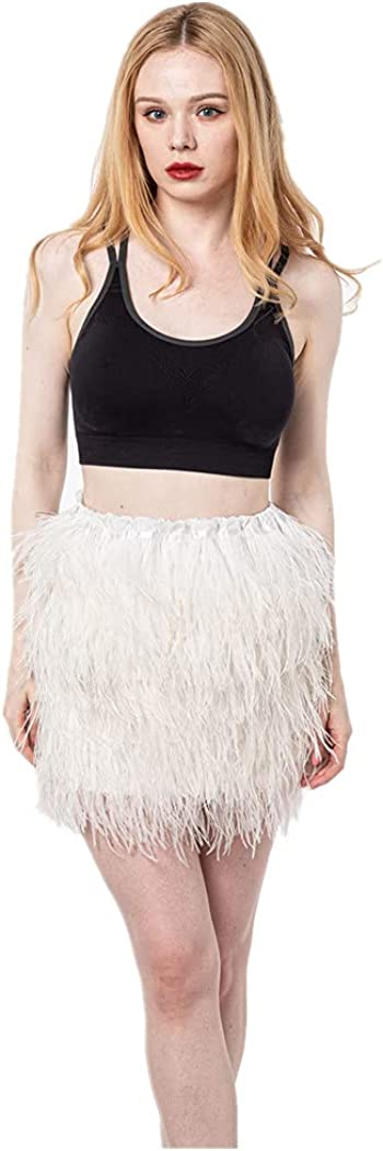 LVCOMEFF Women Feather Mini Skirt Challenge the lowest price of Japan ☆ for Furry Bar Fluffy Virginia Beach Mall Party Wh