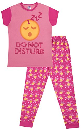 """ThePyjamaFactory langer Schlafanzug mit Emoji-Style und Schriftzu """"Do Not Disturb"""" Pyjama für Mädchen von 9bis 16Jahren Gr. 15-16 Jahre, rose"""