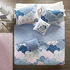 Urban Habitat Kids Cloud Bedding Blue, Geometric, Unicorn – 4 Piece Kids Girls 100% Cotton Quilt Sets Coverlet, Twin,UHK13-0019,Cloud Blue
