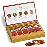 Tea Forte Single Steeps Loose Leaf Tea Sampler, Assorted Variety Tea Box, 15 Single Serve Pouches (Warming Joy - Red/Gold)
