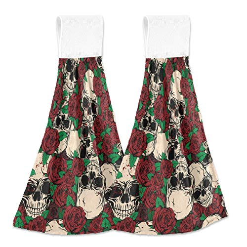 Toallas colgantes de cocina 2 piezas – Calaveras y rosas para colgar bucles de terciopelo suave coral súper absorbentes toallas de mano para coche