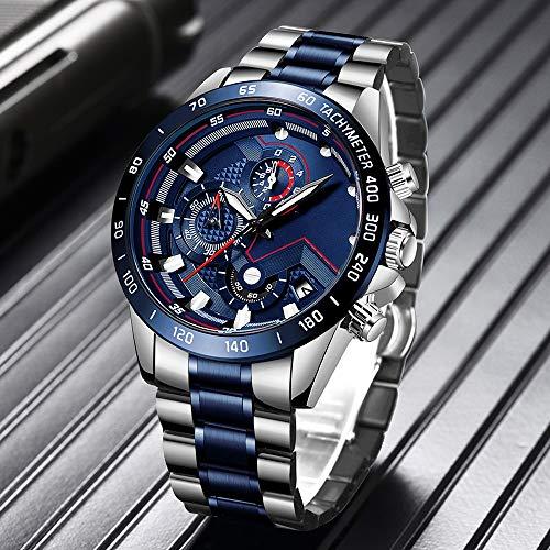 Huante Reloj de los hombres de la marca superior analógico reloj de acero inoxidable impermeable luminoso reloj deportivo hombres relojes de negocios