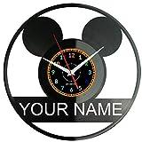 Mickey Mouse Reloj De Pared Vintage Accesorios De Decoración del Hogar Diseño Moderno Reloj De Vinilo Colgante Reloj De Pared Reloj Único 12' Idea de Regalo Creativo vinilo pared Reloj Mickey Mouse