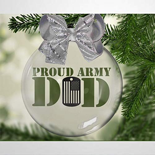 BYRON HOYLE Proud Army Dad Christmas Ornament Family Soldiers Patriot Hero Christmas Ball Ornaments Shatterproof Christmas Decor Tree Balls for Holiday Wedding Party Decor