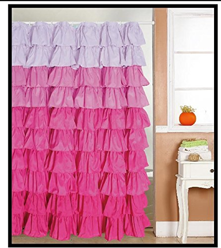 spring Home Ruffled Multi-Color Pink Fabric Shower Curtain