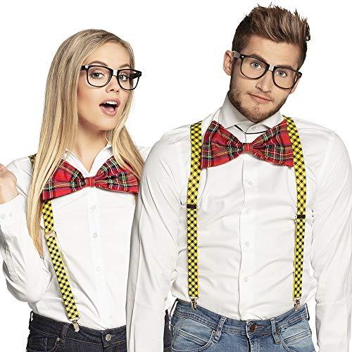 3-teilige Nerd-Verkleidung * Brille + Fliege + HOSENTRÄGER * für (Kinder-) Geburtstag, Karneval oder Mottoparty | Streber Fasching Party Motto