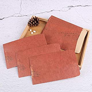 10 Pcs Kraft Paper Envelope Vintage Letter Print Western Style Retro Package Photo Storage Gift Package Office Supply (Col...