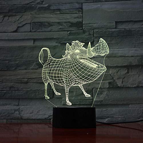 Lampe Illusion 3D Led Veilleuse Pumbaa Décor Ara Capteur Tactile Enfant Enfant Cadeau Décoration Cartoon Le Roi Lion Lampe de Table Chambre