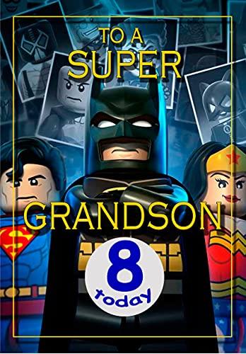Tarjeta de cumpleaños de 8 años, diseño de Batman Lego de Batman - a todo color en el interior, publicada el mismo día