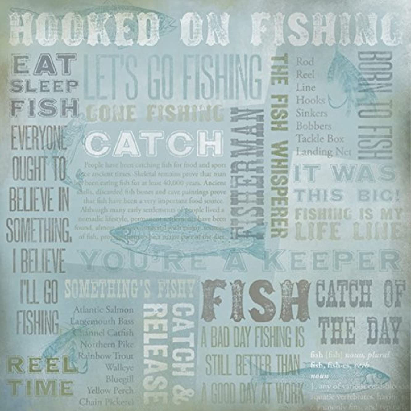 Karen Foster 64962 25 Sheets Hooked On Fishing Collage Scrapbooking Supplies