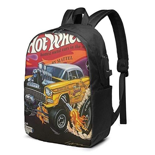 Hot Wheels Gold 55 Gasser PosteB Zaino scuola Borsa in tela di grande capacità Zaino da viaggio casual per adulto Teen Donna Uomo 17 pollici