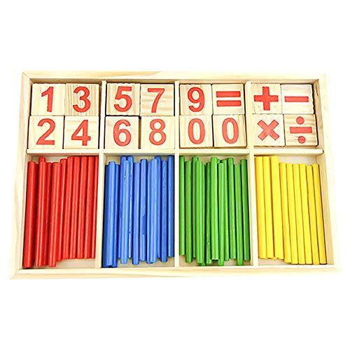 Juanwen Juguetes educativos Montessori, Bloques de madera de juguete, tarjetas de madera con números, barras de inteligencia matemática, y contadores de varillas con caja