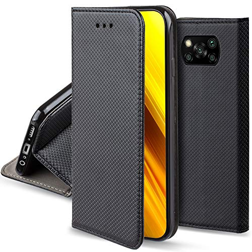 Moozy Cover per Xiaomi Poco X3 NFC, Nero - Custodia a Libro Flip Smart Magnetica con Appoggio e Porta Carte