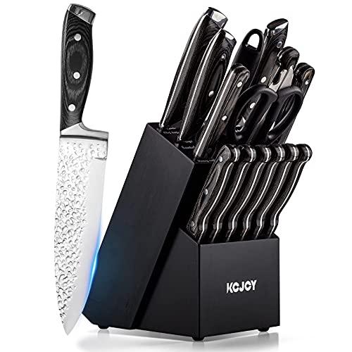 KCJOY Knife Set, 16-Piece Premium Japanese knife Stainless Steel Embossed Kitchen Knife Set with Wooden Block Knife Sharpener Chef Knife Set Bread knife and Bonus Peeler (Black Block-004) is $69.99 (36% off)