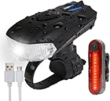 AMANKA Luces Bicicleta USB Super Brillante Impermeable LED Bicicleta Set de Luces Bici 400 Lúmenes Sensor Inteligente...