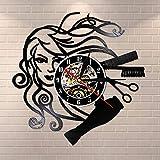 FDGFDG Peinado Salón de Belleza Disco de Vinilo Reloj de Pared Estilista Peluquería Peluquería Retro Reloj de Pared Negro Peluquería Regalos para Mujer