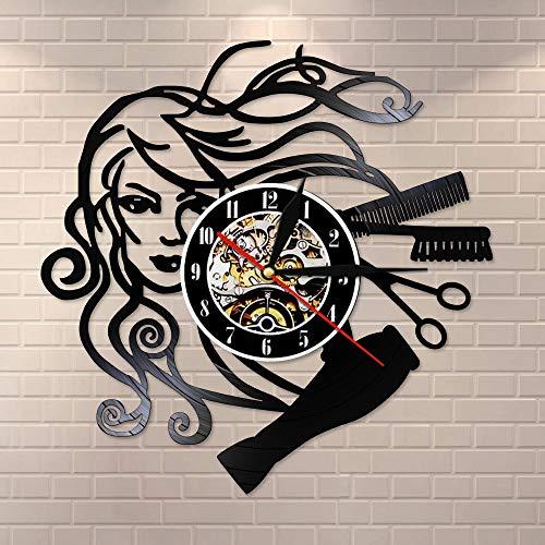 Orologio da parete in vinile 3D acconciatura salone di bellezza orologio da parete parrucchiere barbiere retrò orologio da parete nero parrucchiere da donna