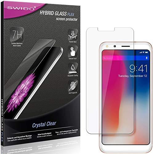 SWIDO Panzerglas Schutzfolie kompatibel mit Doogee X53 Bildschirmschutz-Folie & Glas = biegsames HYBRIDGLAS, splitterfrei, Anti-Fingerprint KLAR - HD-Clear