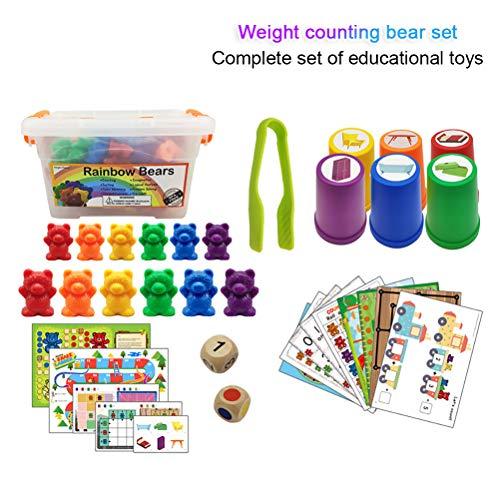 Suszian Juego de osos cuenta arcoíris, 90 piezas de osos contadores con tazas de clasificación a juego Número Reconocimiento de color Juguete educativo Regalo de cumpleaños para niños