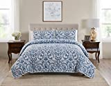 Tahari Home | Montreau Bedding Collection | Luxury Premium Ultra Soft Quilt Coverlet, Lightweight Comfortable 3 Piece Set, Floral Print Designed for Home Hotel Décor, King, Blue