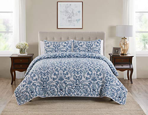 Tahari Home | Montreau Bedding Collection | Luxury Premium Ultra Soft Quilt Coverlet, Lightweight Comfortable 3 Piece Set, Floral Print Designed for Home Hotel Décor, Full/Queen, Blue