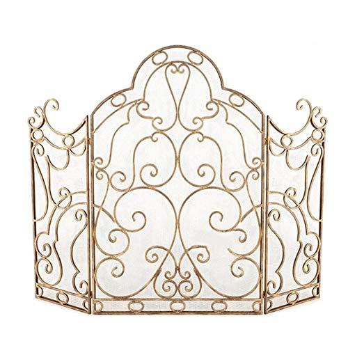 Pantalla Chimenea 3-Panel Gold Kamin-Sicherheitsgitter mit Metallgitterabdeckung, Schmiedeeisenrahmen mit Dekorrolle Spark Guard, Baby/Haustier Sicherer Kaminzaun (Color : Gold)