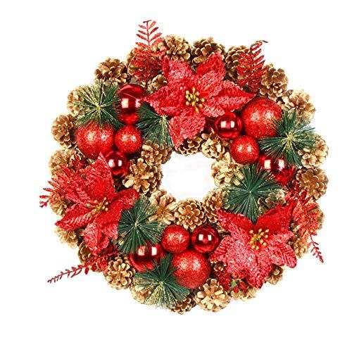 About1988 Weihnachtskranz, Adventskranz Weihnachts Türkranz Weihnachtsdeko Kranz Weihnachtsgirlande mit Kugeln Handarbeit Weihnachten Garland Deko-Kranz (A)