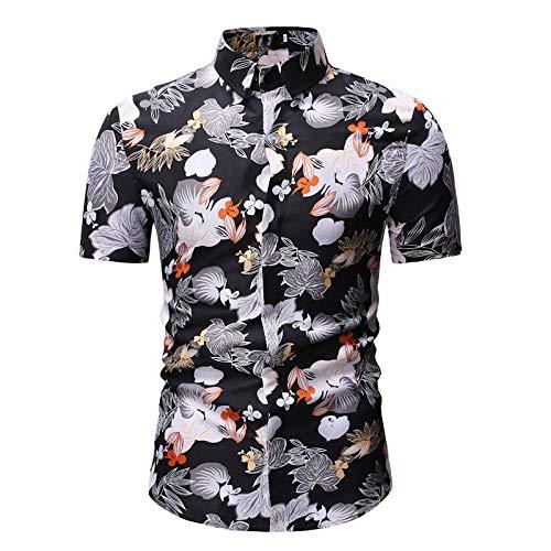 Jinyuan Camisa De Hombre Camisa Hawaiana De Playa con Estampado De Palmeras De Estilo Veraniego Camisa Hawaiana Casual De Manga Corta para Hombre Negro 2XL
