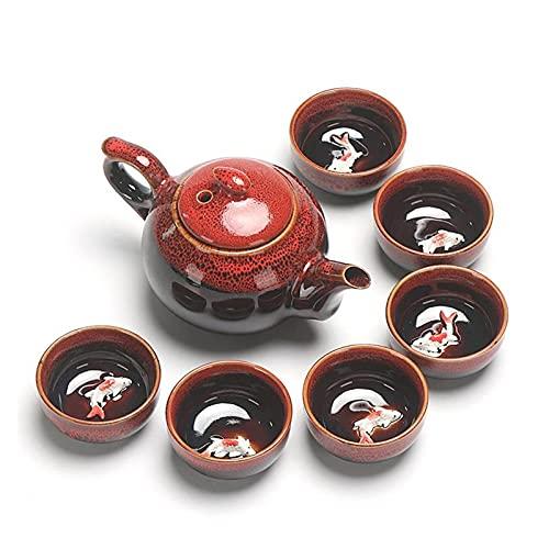 Cerámica china Juegos de té de Kung Fu chinos de cerámica Tetera portátil de porcelana de porcelana conjuntos de tazas de té de la ceremonia de té regalo de la olla para un amigo ( Color : Red )