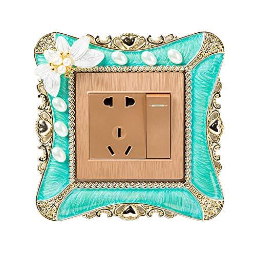 Yosemite - Adhesivo decorativo para interruptor de pared, diseño de flores de perlas de imitación, NA, verde, Green