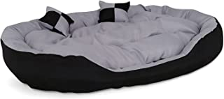 Poofy's Pet Island Egg Shape Grey-Black Ultra Soft Polyfill Reversible Dog/Cat Small Bed (Export Quality)