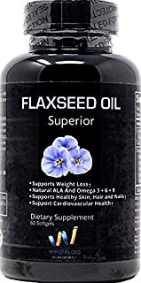FLAXSEED OIL GELS Capsules Omega 3 ALA Fatty Acid Supplements 1000 mg - Organic, Non GMO, Virgin Cold-pressed Softgels for Natural Weight Loss Management - 100 pills