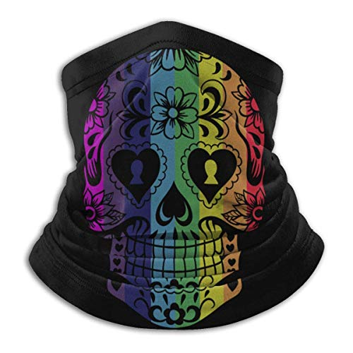 Gay Rainbow Pride Colors Sugar Skull Unisex Microfiber Neck Warmer Headwear Face Scarf Mask For Winter Cold Weather Mask Bandana Balaclava