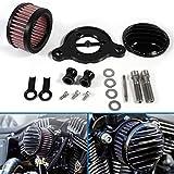 Kit de sistema de filtro de admisión de filtro de aire de la motocicleta compatible con Sportster XL883 XL1200 2004-2015(Negro)