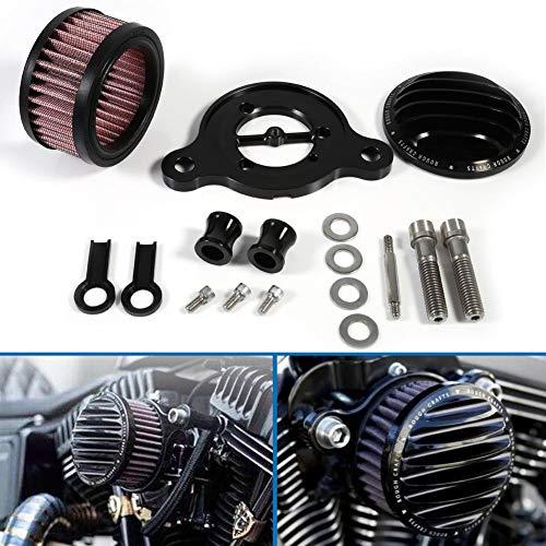 Keenso Motorrad Luftfilter Ansaugfiltersystem Kit für Sportster XL883 XL1200 2004-2015(Schwarz)