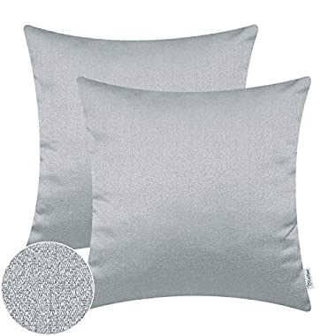 CaliTime Pack of 2 Soft Throw Pillow Covers Cases for Couch Sofa Home Decor Solid Faux Linen Woven Texture 18 X 18 Inches Silver Gray
