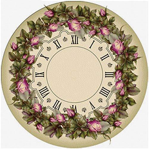 Doe-het-zelf 5D diamantschilderij, strass-stenen, mozaïekset, rond, diamantschilderij, klok en bloem, decoratie van het huis