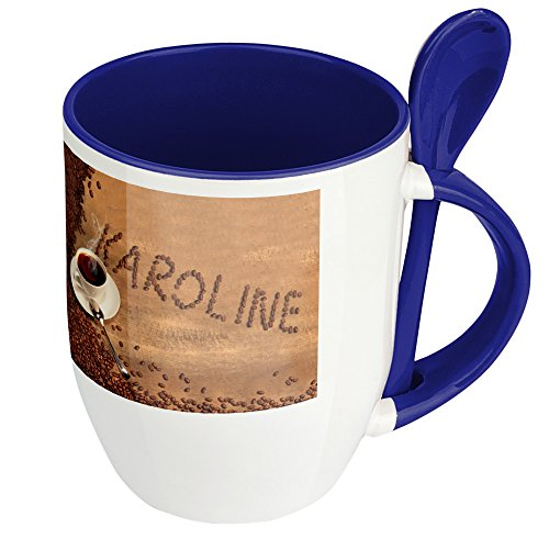 Namenstasse Karoline - Löffel-Tasse mit Namens-Motiv Kaffeebohnen - Becher, Kaffeetasse, Kaffeebecher, Mug - Blau