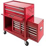 Arebos Werkstattwagen 9 Fächer rot ( zentral abschließbar, Abnehmbarer Werkzeugkasten, Massives...