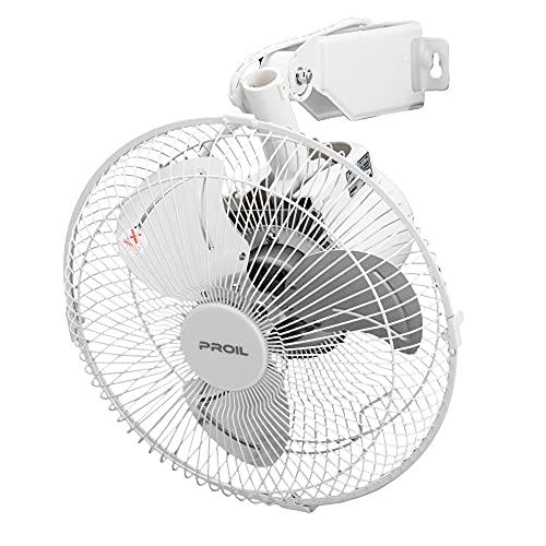 プロイル 扇風機 小型 壁掛け型 25cm ホワイト 自動首振り アルミ羽根 風量3段階 FHA251-W