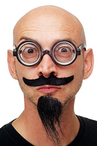 Dress Me Up - Karneval Fasching Halloween Bart Schwarz Schnurrbart & Kinnbart Set zum Kleben mit Brille Verrückter Professor Schuldirektor MM-34