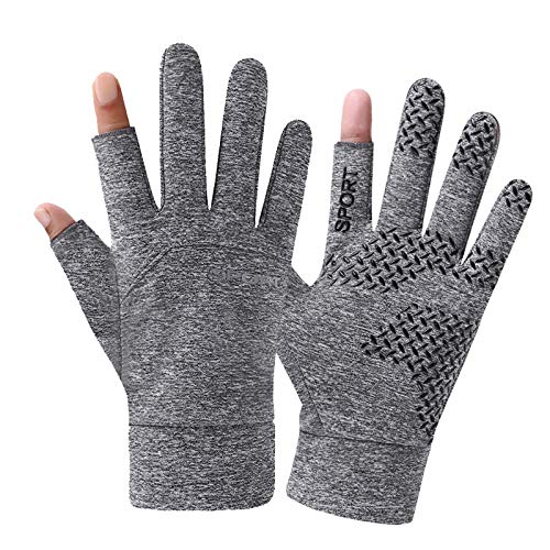 Aumiso Winter Gloves with 2-Cut-Finger, Windproof Water-Risistant Touch Screen Warm Gloves for Driving, Cycling, Running(1 Pair)