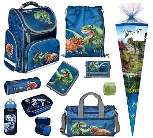Familando Dinosaurier Schulranzen-Set 10 TLG. Modell CLOU Ranzen 1. Klasse mit Federmappe, Sporttasche, Schultüte 85cm Schleich Dinosaur und Regenschutz